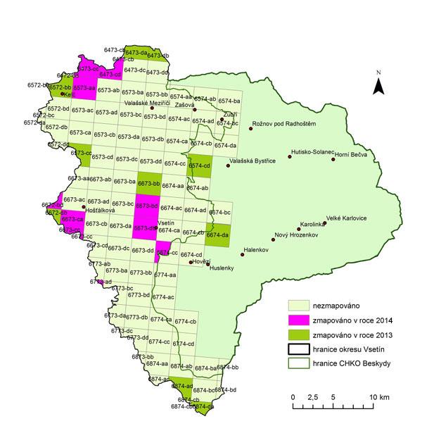 Síťové mapování Vsetín 2013-2014